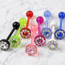 5pcs 14Gauge 1.6*7*19mm Colorful AB Crystal Rhinestone Acrylic Piercing Tongue Nipple Bar Ring Barbell Body Jewelry Belly Navel(China)