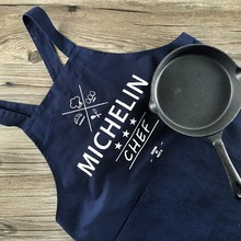100% cotton solid color deep blue adult apron sleeveless aprons kitchen baking apron store housekeeping gift chef gown men