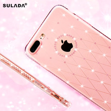 SULADA for Apple 7 Plus Rhinestone Mobile Case Soft TPU Back Cover for Apple iPhone iPhone7Plus 5.5'' Smart Phone(China)