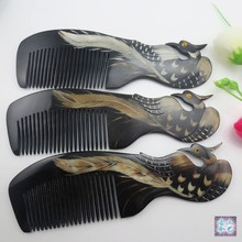 Natural horn comb Phoenix upscale boutique, hand-carved art, head blood circulation beauty special items M43 GYH(China)