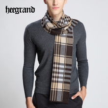 HEE GRAND 2017 New Men Warm Small Yellow Plaid Design Wool Scarf Male Fashion Patchwork Stripped Long Scarves PWM103