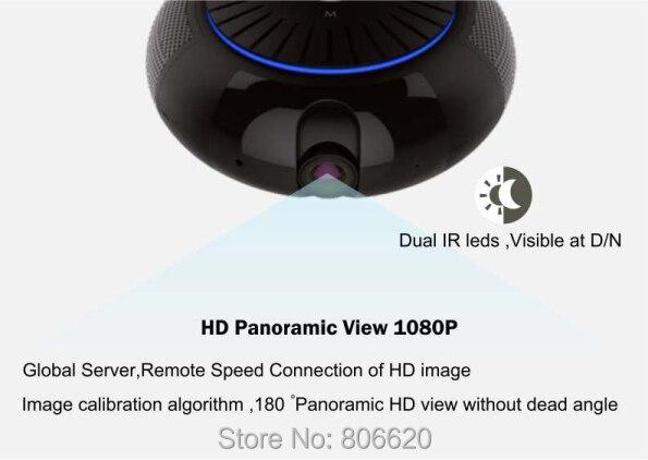Panoramic 180 Degree 1080P HD Wifi IP Camera Built-in 5W Hifi System Bluetooth Speaker Internet Music byFree App Remote Control_F2