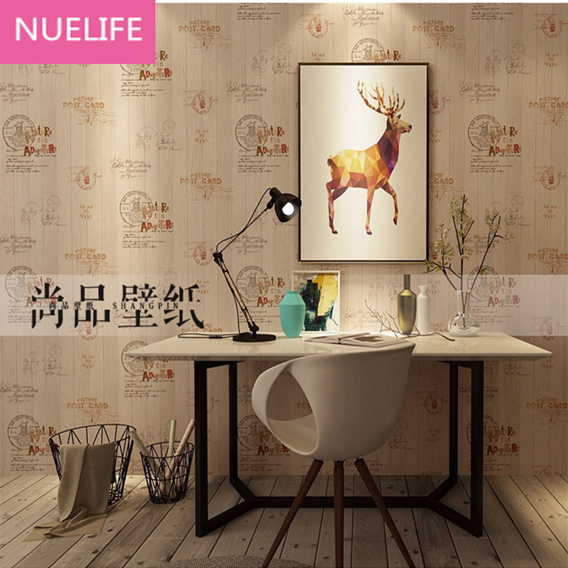 0.53x10m Retro Nostalgic Letter Seal Board Pattern Wallpaper Living Room Bedroom Cafe Clothing Store Personal Striped Wallpaper<br>