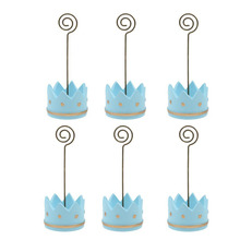 6pcs Image Memo Holder Photo Clip Holder Circular Wire Hanger Wedding Name Table Setting Marker Shop Display Price Tag (Blue)(China)