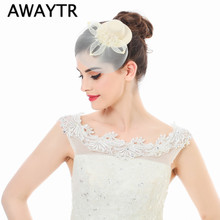 AWAYTR 1 Pcs Lady Black Mini Top Hats Cap Fascinator Hair Clip Costume Hair Accessories Elegant Women Mesh Hairwear for Party(China)