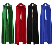 Free Shipping Adult Witch Long Purple Green Blue Red Black Halloween Cloaks Hood and Capes Halloween Costumes for Women Men(China)