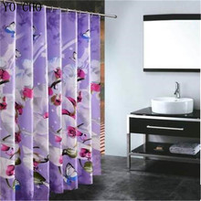 Polyester Fabric Shower Curtain Waterproof Home Bathroom Curtains Butterfly orchid purple bath crutain for the bathroom(China)