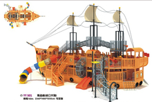 Seaside Wooden Playground Equipment  Super Quality Children Wood Pirate Ship YY501