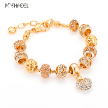 Poshfeel Luxury Crystal Heart Charm Bracelets & Bangles Gold Color Bracelets For Women Jewellery Pulseira Feminina Mbr170216(China)