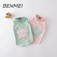 BENMEI Fashion Summer Dog Vest Striped Cotton Pet Shirt Puppy Teddy Clothes Sweet Star Pattern Dog Tank Top