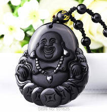 High Quality Unique Natural Black Obsidian Carved Buddha Lucky Amulet Pendant Necklace For Women Men pendants Fine Jewelry()
