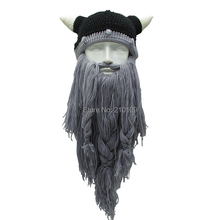 Men's Head Barbarian Vagabond Viking Beard Beanie Horn Hat Handmade Winter Warm Birthday Cool Gift Funny Gag Party Halloween Cap