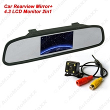 "6Set 4.3"" LCD Digital Car Rearview Monitor With Mirror + CCD 4-led Reversing Camera Car Rear View System #J-3740"