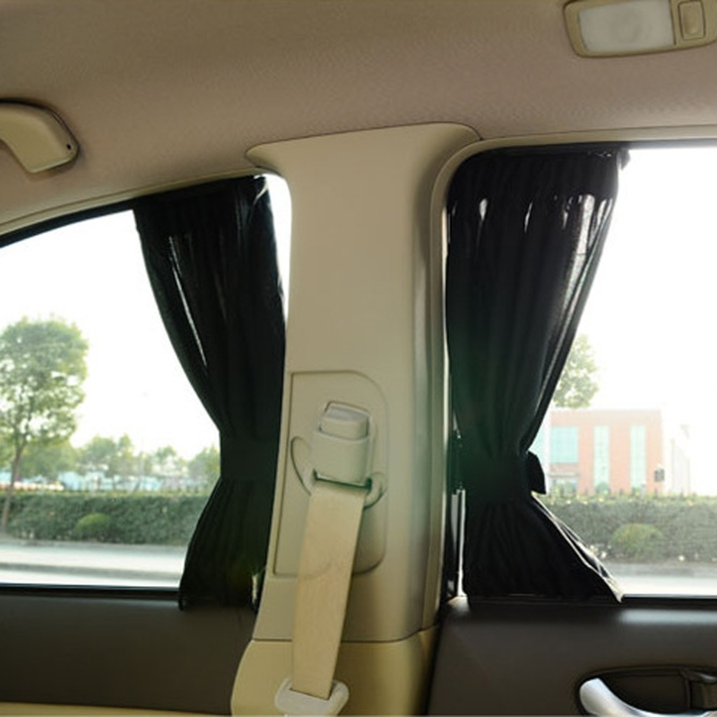 Universal Black Mesh Interlock VIP Car Window Curtain Sunshade Visor UV Block