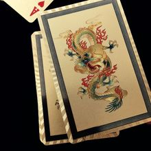 New Design Gold Foil Playing Cards Waterproof Plastic Poker Good Gift for Leisure Casino Cards Dragon/Phoenix Style for Optional(China)