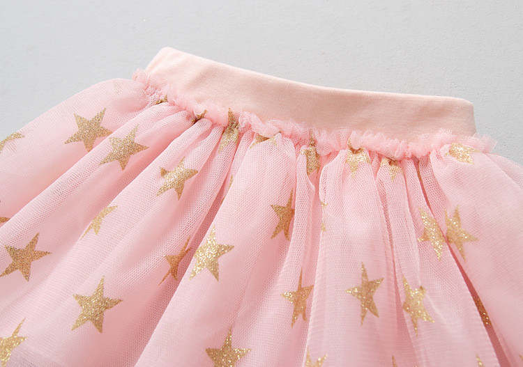 Fanfiluca New Baby Girl Clothes Tutu Skirt Ballerina Pentagram Children Ballet Skirts Party Dance Princess Girl Tulle Miniskirt007