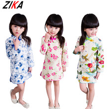 ZIKA 2017 Spring  Children Cheongsam Chinese Style Stand Collar Baby Girls Dresses Floral Pattern Long Sleeve Kids Clothes Brand