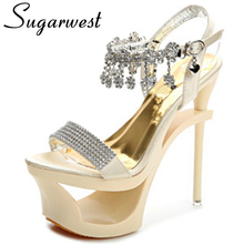 Sugarwest High Heels Platform Women Sandals Crystal Rhinestone Peep Toe Wedding Ladies Shoes Sexy Club Sandals Chaussure WW632