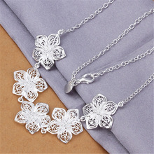 New Listing Hot sell cute women lady wedding silver plated  retro charm flowers Necklace Fashion trends Jewelry Gifts N336