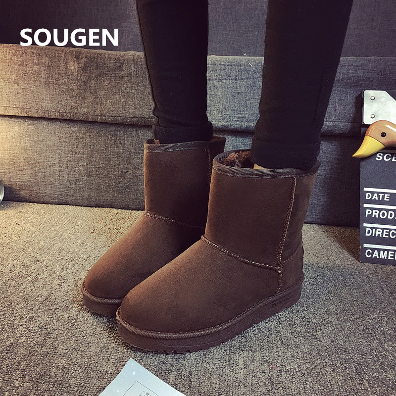 Women Boots Australian Winter Women 2017 Ankle Lace Up Leather Fashion Female Brown Snow For 2017 Suede Autumn Felt Boots Black<br><br>Aliexpress