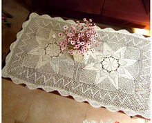 Christmas decorations Hand Crochet Cotton Flower Beige Table cloth Rectangle Tablecloth 80X180CM Sofa Cover cloth(China)