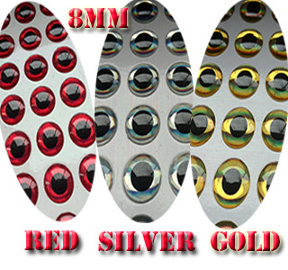 2015new 3D Fishing Lure Eyes red100pcs+silver100pcs+gold100pcs=300pcs/lot  size:8MM<br><br>Aliexpress