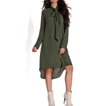 2017 Spring Summer New Style Casual Loose Women Bow Tie  Dress Fashion Long Sleeve Solid Color Shift Dresses Plus Size