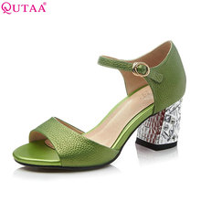 QUTAA 2017 Women Pumps Ladies Shoes Green Square High Heel Zipper Peep Toe Genuine Leather Woman Wedding Shoes Size 34-39