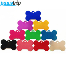 10pcs/lot Aluminum Pet Tag Bone Shape Name Phone Number Dog ID Tag S/M/L(China)