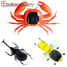 BalleenShiny Kid Solar Energy Powered Toy Mini Kit Novelty Power Crab Ant Robot Bug Grasshopper Educational Gadget Toy For Baby(China)