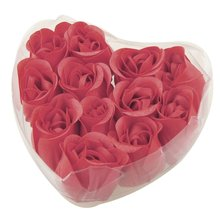 Best Sale 12 Pcs Red Fragrant Rose Bud Petal Soap Wedding Favor + Heart Shape Box