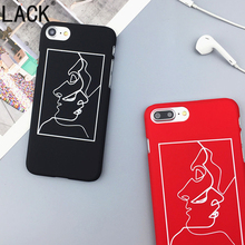 LACK Cute Cartoon Fashion Abstract Line Face Phone Cases For iPhone6 Cases For iPhone 6S 7 7Plus Newes frosted Back Cover Coque