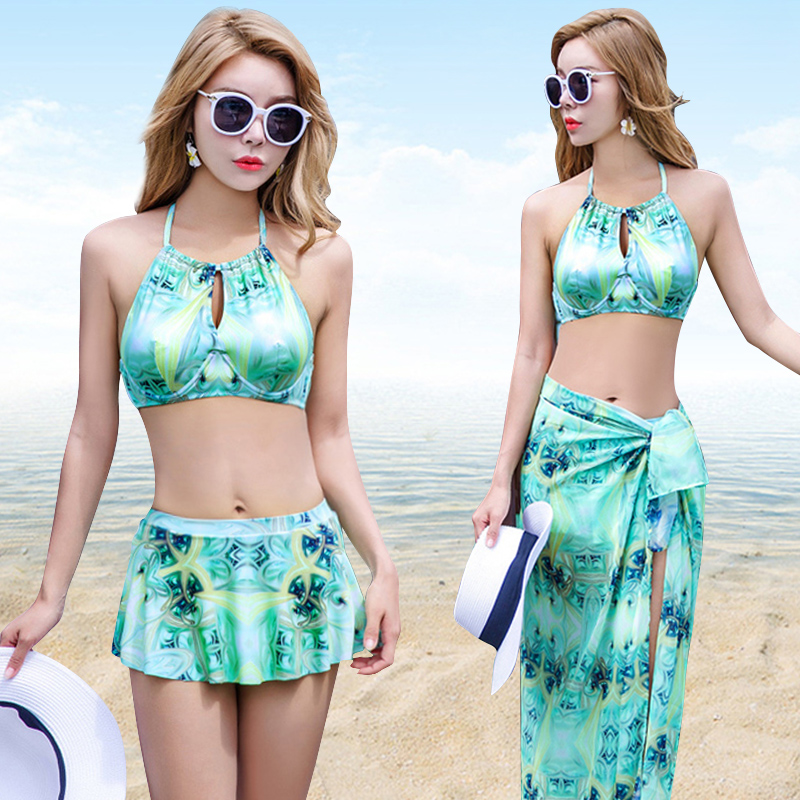 Hot Design Retro Style Brazilian Sexy Printing Plus Size Swimsuit Skirt Bikini Halter Padded Biquini Push Up 2017 Swimwear Dress<br>