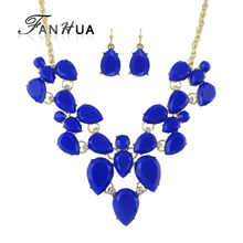 FANHUA Jewelry Sets Blue Black Acrylic and Rhinestone Water Drop Flower Collar Necklace and Drop Earrings Women Accessories