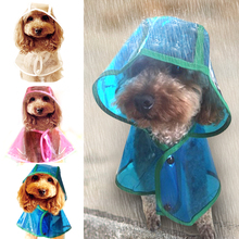 Waterproof Dogs Raincoat Transparent Lightweight Dog Clothes Rain Jacket With Hood For Small Puppy Dog 3 Colors Rose Blue White(China)