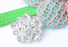 Free Shipping Crystal Rhinestone Button Sew On Flower Center 25mm 20pcs/lot Shank Back Silver Color