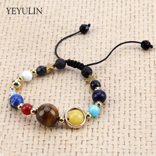 New Arrival the eight major planets Stone Beads Handmade Weave Bracelet For Women Men Bangles Jewelry(China)