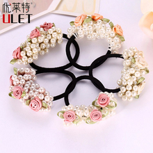 New Arrival Girls Gum Imitation Pearl Hair Rope Bead Multilayer Elegant Hair Accessories Flower Rubber Band Girl Ponytail Holder(China)