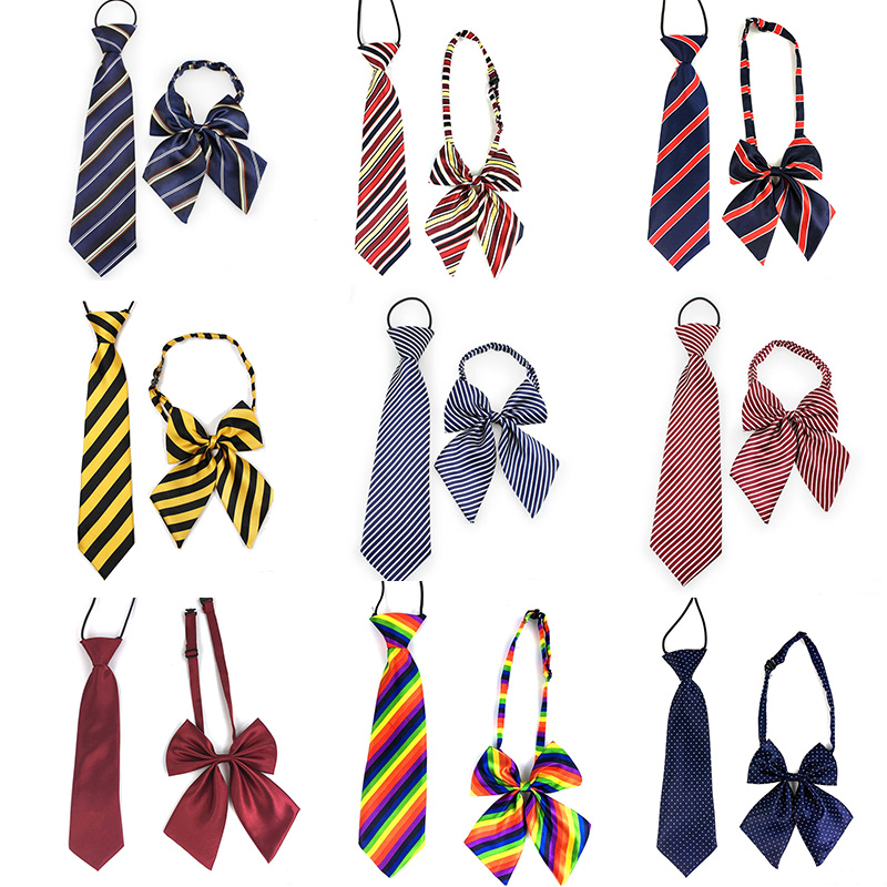 New Kids Boys Zipper Adjustable Pre-tied Necktie Black yellow Stripes formal