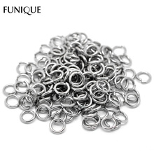 FUNIQUE New Fashion 200PCs Silver Tone Stainless Steel Open Jump Rings 9mm x 1.5mm(China)