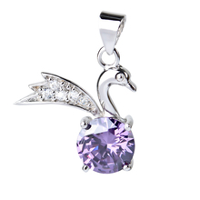 GND0285 100% Real 925 Sterling Silver Pendant Sweet Purple Crystal Swan Fashion Women Necklaces Pendants Charming Jewelry(China)
