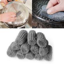 12pcs Kitchen Gadgets Steel Wool Cleaning Pot Pan Degreasing Cleaner Sponge Steel Wire Scourer Ball Clean Tool YX#