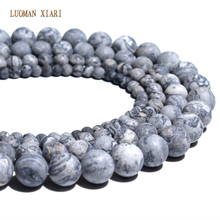 Wholesale Natural Dull Polish Map Matte Stone Beads For Jewelry Making DIY Bracelet Necklace 4/6/8/10 mm Strand 15''(China)