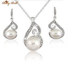 jewlery sets wedding necklace set pearls costume de joias bridal White plated earing and sieraden fashion crystal women gift(China)