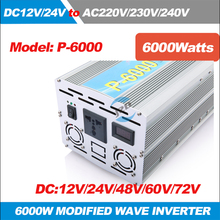 P-6000 6KW/6000W(Peak 12000w)  Solar Power Inverter 12V/24V/48V/60V/72V DC to 220-240VAC ,50/60HZ Modified Wave Converter