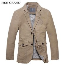 HEE GRAND Men Casual Blazer 2017 Hot Sale 100% Cotton Material Single Breasted Solid Color Design Slim Fitted Spring Suit MWX414