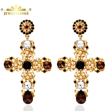 Renaissance Style Blood Red Crystal Filigree Baroque Cross Earrings Gold Tone Mini Pearls Black Crystal Deco Statement Earrings