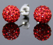 Lowest Price!10mm Clay Red Crystal Micro Pave Disco Ball Silver Plated Shamballa Earrings Stud jewelry for womenwholesale
