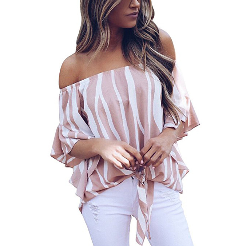 LOSSKY Women's Striped Chiffon Shirts Blouse Sexy Off Shoulders Bandage Women Casual Blusas Shirt 2018 Summer Loose Elegant Tops 17