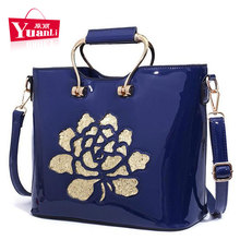 Cow Leather Women Top-handle Bags Red Patent Leather Large Handbag Sequined Flower Printing Tote Sac A Main(China)
